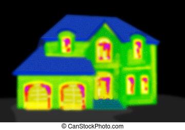 casa, area., pretas, térmico, imaging