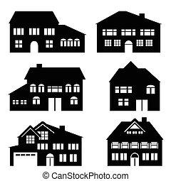 casa, arquitetura, e, bens imóveis, ícones