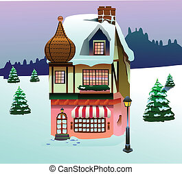 casa, arte, nieve,  Clip