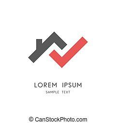 casa, assegno, logotipo