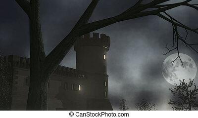 casa assombrada, w/, relampago, 1, cgi-hd