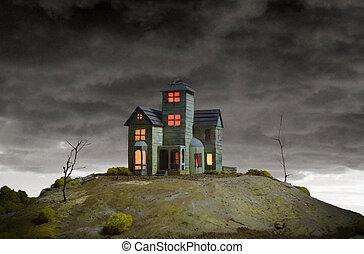 casa, assombrado, colina