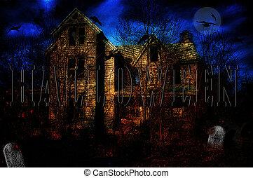 casa, assombrado, ilustração