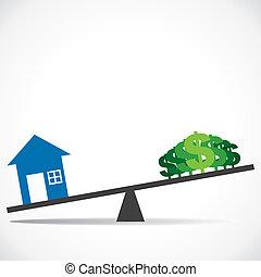 casa, aumenti, concetto, costo