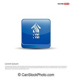 casa azul, botão, -, ícone, 3d