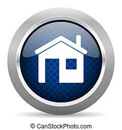 casa, azul, círculo, brillante, tela, icono, blanco, plano...