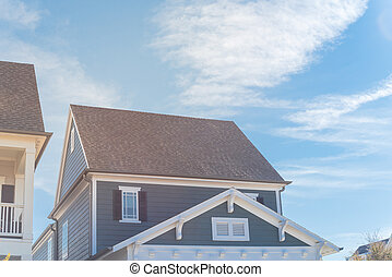 casa, azul, cabaña, cielo, tejas, estilo, apartadero, nube, ...