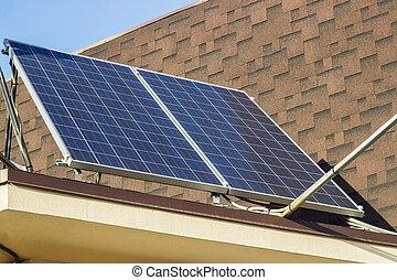 casa azul, cielo, contra, techo, paneles solares