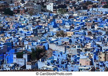 casa azul, en, el, hermoso, ciudad, de, jodhpur, en, estado...