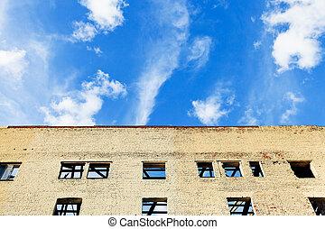 casa azul, furbished, céu, acima