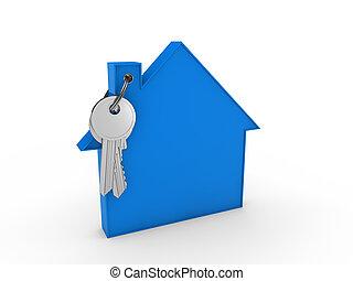 casa azul, llave, 3d