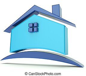 casa azul, techo, ilustración, logotipo