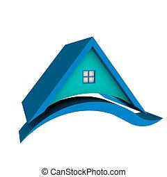 casa azul, techo, swoosh