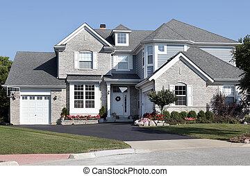 casa azul, tijolo, siding