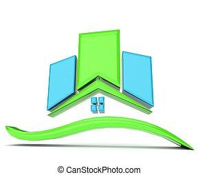 casa azul, verde, logotipo