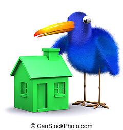 casa azul, verde, tem, pássaro, 3d