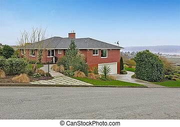 casa, azulejo, roof., frente, tijolo, vermelho, vista