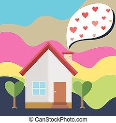 casa, balloon, coração