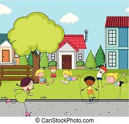 casa, bambini giocando, campo