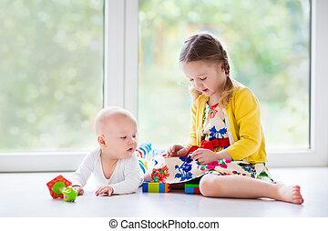 casa, bambini, gioco