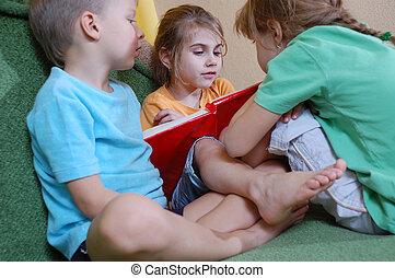 casa, bambini, tre, lettura