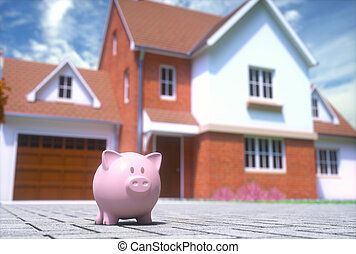 casa, banca piggy, finanza