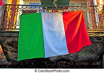 casa, bandeira, italiano, sacada