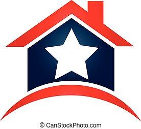 casa, bandera de los e.e.u.u, estrella, logotipo
