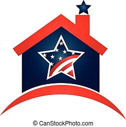 casa, bandera de los e.e.u.u, logotipo