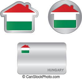 casa, bandiera, ungherese, icona