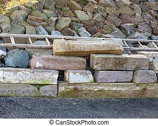 casa, basement., rebuilding, viejo, blocks., granito