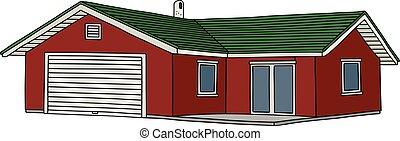 casa, basso, rosso