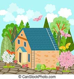 casa, bello, ar, estate, volare, mattone, farfalle, paesaggio