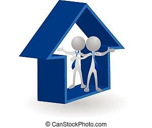 casa, -, beni immobili, 3d, logotipo, vettore