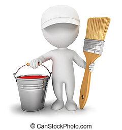 casa, bianco, 3d, pittore, persone