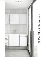 casa, bianco, cucina, moderno, semplice