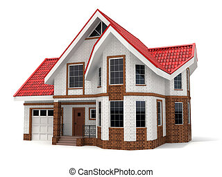 casa, bianco, fondo., tridimensionale, image.