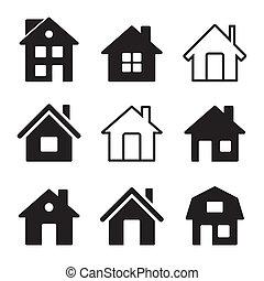 casa, bianco, set, icone