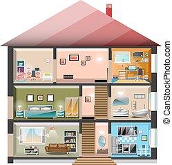 casa, bianco, taglio, isolato, fondo