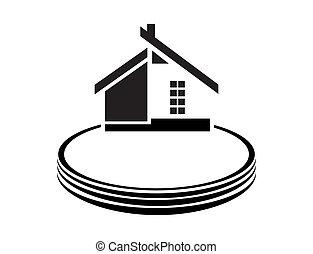 casa, bianco, vettore, fondo, illustrazione