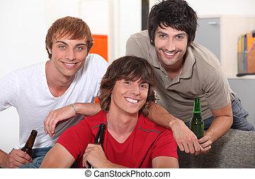 casa, birra, amici, bere, tre