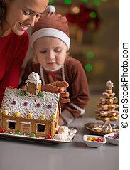 casa, biscoito, mãe, bebê, fazer, natal, feliz