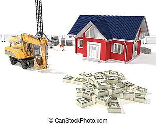 casa, bisogno, soldi