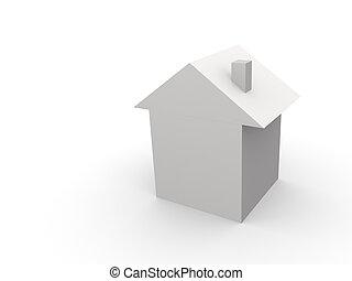 casa, blanco, 3d