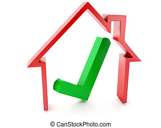 casa, blanco, cheque, plano de fondo, marca