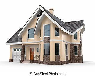 casa, blanco, fondo., tridimensional, imagen