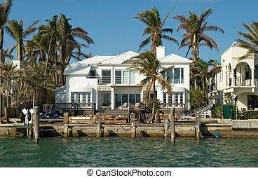 casa, blanco, mar