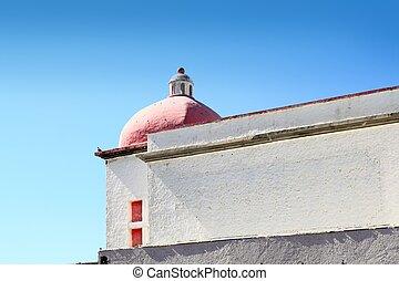 casa, blanco, mexicano, cúpula, rojo