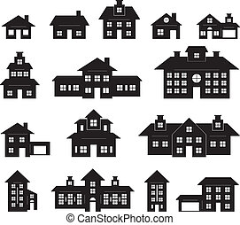 casa, blanco, negro