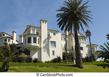 casa, blanco, palma